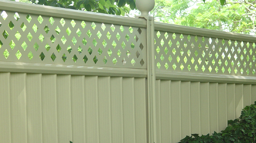 Cream Fence With Trellis Section