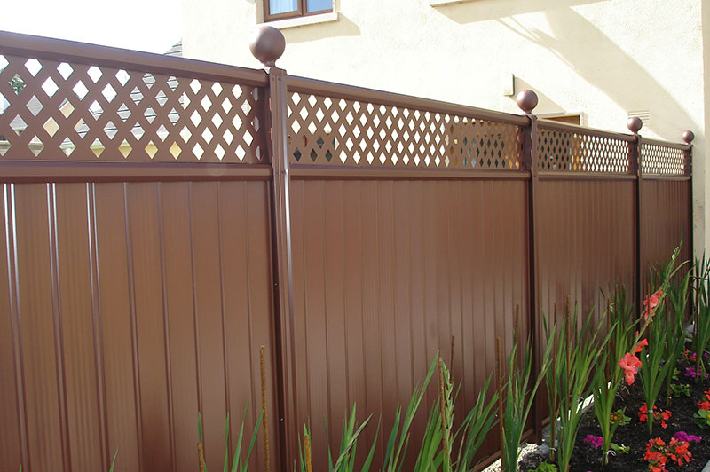 Brown Fence with Trellis Topper