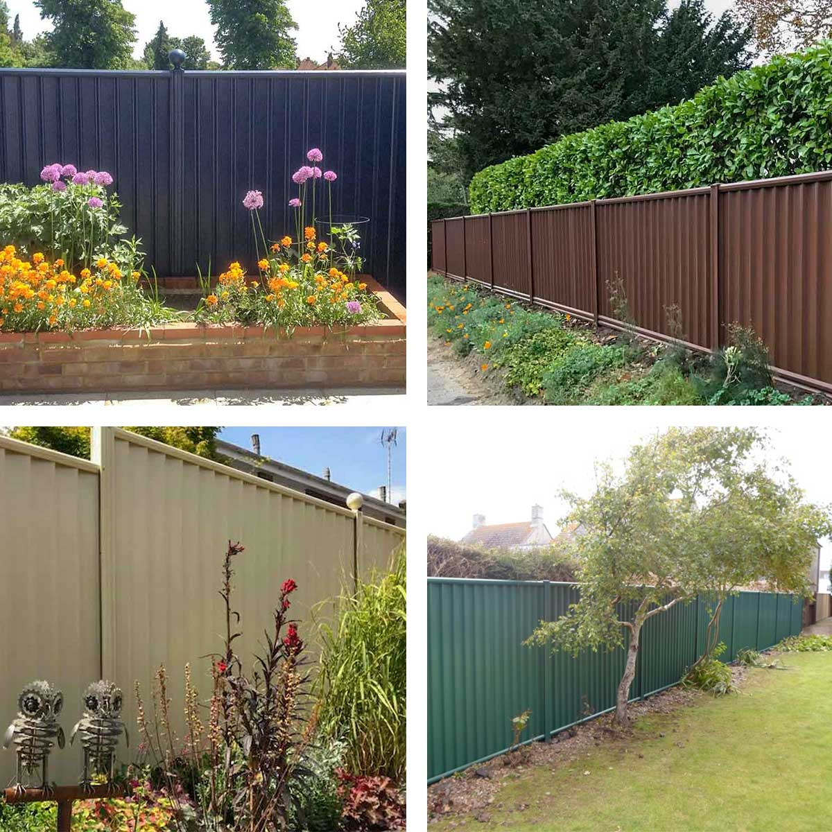 Blue, brown, cream and green ColourFence in situ